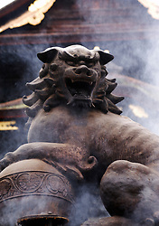 Bronze lion incense burner at Zenko Ji Temple at Nagano in Japan