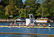 Henley on Thames, England, United Kingdom, 4th July 2019, Henley Royal Regatta, Temple Challenge Trophy, Brown University  pass  the one mile and one eight barrier,  Henley Reach, [© Peter SPURRIER/Intersport Image]<br /> <br /> 09:11:53 1919 - 2019, Royal Henley Peace Regatta Centenary,