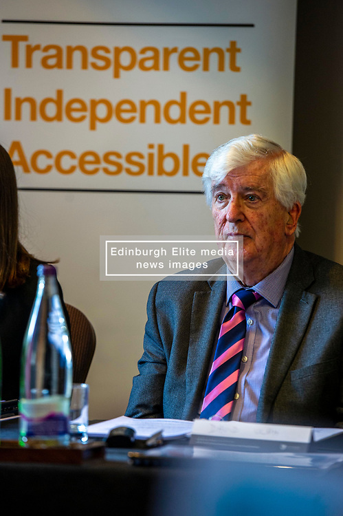 Pictured: Commissioner Professor David Ulph CBE FRS<br /> <br /> Members of the Scottish Fiscal Commission outlined forecasts that inform Scottish Government budget proposals in Edinburgh today.  Chair Dame Susan Rice DBE, was joined by commissioner Professor David Ulph CBE FRSE, Chief Executive John Ireland and Claire Murdoch Head of Devolved Taxes and Social Security at the publication of the February 2020 report