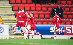 Aberdeen&rsquo;s Peter Pawlett celebrates after scoring their second goal. <br /> St Johnstone 3 v 4Aberdeen, SPFL Ladbrokes Premiership played 6/2/2016 at McDiarmid Park, Perth.