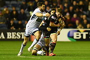 James Johnstone under pressure during the Guinness Pro 14 2017_18 match between Edinburgh Rugby and Glasgow Warriors at Murrayfield, Edinburgh, Scotland on 23 December 2017. Photo by Kevin Murray.