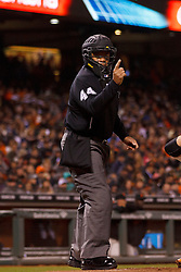 SAN FRANCISCO, CA - MAY 04:  MLB umpire Kerwin Danley #44 calls a strike during the sixth inning between the San Francisco Giants and the San Diego Padres at AT&T Park on May 4, 2015 in San Francisco, California.  The San Francisco Giants defeated the San Diego Padres 2-0. (Photo by Jason O. Watson/Getty Images) *** Local Caption *** Kerwin Danley