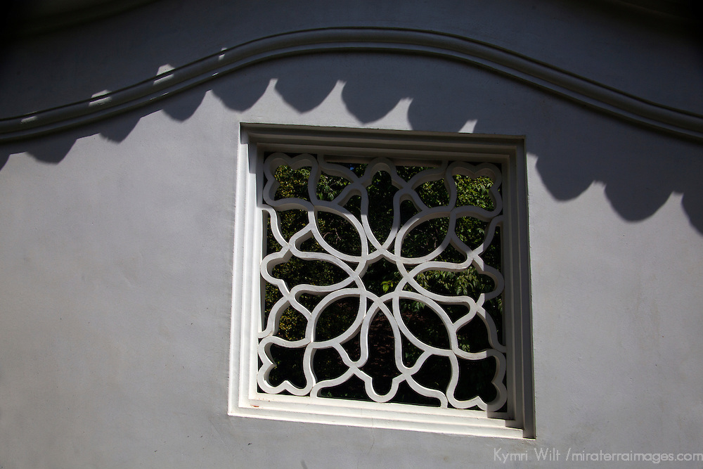 USA, California, San Marino. Architectural detail of The Huntington Library Chinese Gardens.