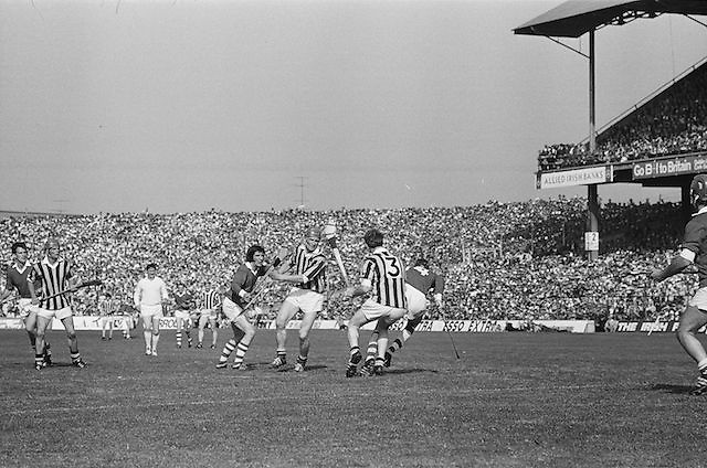 Two Kilkenny players close in to tackle Cork player during All Ireland Senior Hurling Final, Cork v Kilkenny in Croke Park on the 3rd September 1972. Kilkenny 3-24, Cork 5-11.