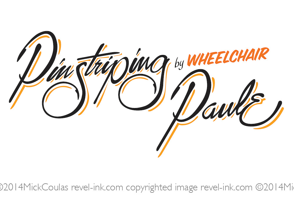 Pinstriping Logo Execution for Wheelchair Paulie, Disabled Veteran Pinstriping Artist