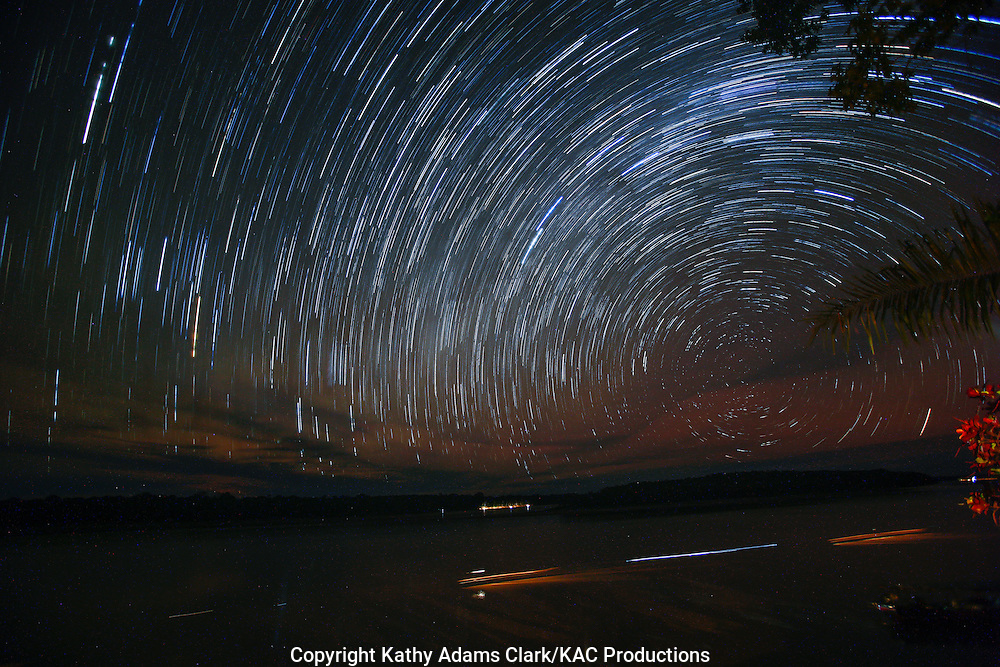 Star trails, or light left by the star as the earth rotates, Inkaterra Amazonia; Madre de Dios River; Peru; Reserva Ecologica Inkaterra