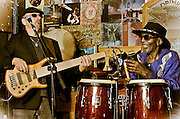 Pete Bremy on bass and Juma Sultan on percussion during the Vince Martell gig at The Bus Stop Music Cafe in Pitman, NJ.