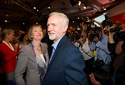 © Licensed to London News Pictures. 12/09/2015. London, UK. JEREMY CORBYN and HARRIET HARMEN after the announcement that JEREMY CORBYN is the new Labour Party leader. The announcement of the new leader of the Labour Party at the QEII centre in Westminster, London on September 12, 2015. Former leader ED Miliband resigned after a heavy defeat at the last election. Photo credit: Ben Cawthra/LNP