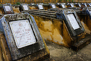 © Licensed to London News Pictures. 04/01/2012. Graves of local Viet Cong soldiers killed during the American War lie in a grave yard on Cam Kim Island. Photo credit : Stephen Simpson/LNP