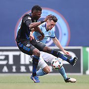 NEW YORK, NEW YORK - April 12: Shaun Francis #20 of San Jose Earthquakes is challenged by Jack Harrison #11 of New York City FC during the New York City FC Vs San Jose Earthquakes regular season MLS game at Yankee Stadium on April 1, 2017 in New York City. (Photo by Tim Clayton/Corbis via Getty Images)