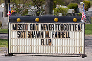 Accord, New York  - A sign along Route 209, where the public lined up to honor U.S. Army Sgt. Shawn M. Farrell II on May 7, 2014. Farrell died April 28 when forces attacked his unit with small arms fire in Afghanistan.