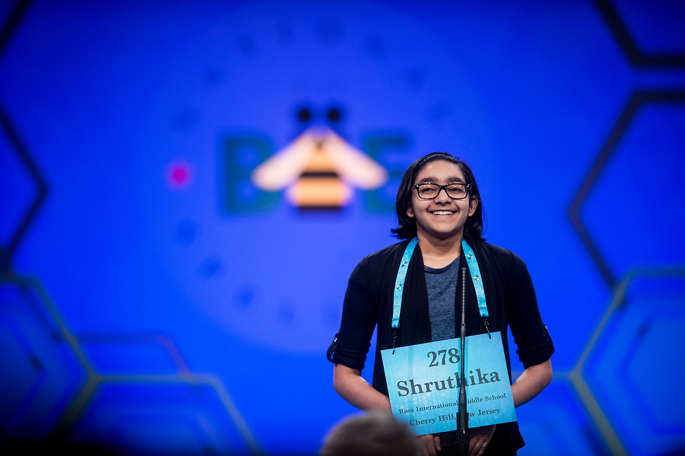 Shruthika Padhy, 11, from Cherry Hill, N.J., participates in the finals of the 2017 Scripps National Spelling Bee on Thursday, June 1, 2017 at the Gaylord National Resort and Convention Center at National Harbor in Oxon Hill, Md.      Photo by Pete Marovich/UPI
