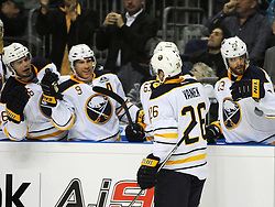 08.10.2011, O2 World, Berlin, Linz, GER, NHL, Buffalo Sabres vs LA Kings, im Bild Thomas Vanek (Buffalo Sabres, #26) celebreats a goal with his teammates on the bench, during the Compuware NHL Premiere, O2 World Berlin, Berlin, Germany, 2011-10-08, EXPA Pictures © 2011, PhotoCredit: EXPA/ Reinhard Eisenbauer