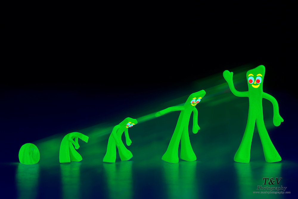 Gumby evolves from a glowing ball of clay.Black light