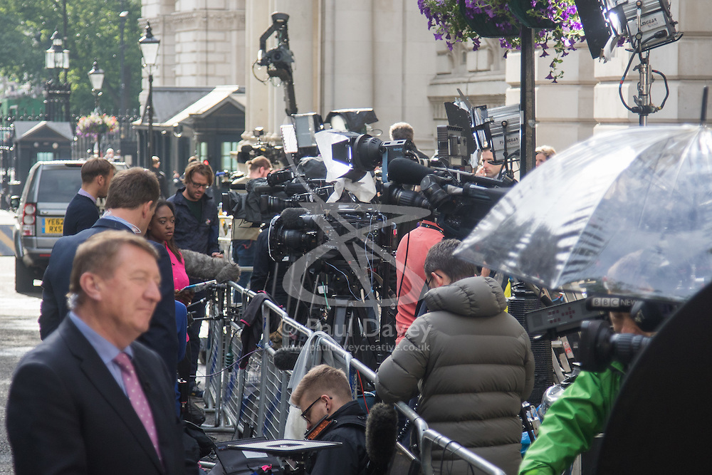 Downing Street, London, July 13th 2016. As David Cameron prepares to step aside for new British Prime Minister Theresa May, the British and world's media gathers outside 10 Downing Street.