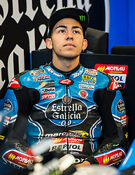 October 20, 2017 - Melbourne, Victoria, Australia - Italian rider Enea Bastianini (#33) of Estrella Galicia 0,0 in his garage during the first free practice session of the Moto3 class at the 2017 Australian MotoGP at Phillip Island, Australia. (Credit Image: © Theo Karanikos via ZUMA Wire)