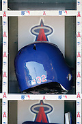 ANAHEIM, CA - JULY 21:  The helmet of Josh Hamilton #32 of the Texas Rangers bats sits in a dugout bin during the game against the Los Angeles Angels of Anaheim on Saturday, July 21, 2012 at Angel Stadium in Anaheim, California. The Rangers won the game 9-2. (Photo by Paul Spinelli/MLB Photos via Getty Images)