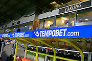 TempoBet branding in the Pirelli stadium dugouts during the EFL Sky Bet Championship match between Burton Albion and Birmingham City at the Pirelli Stadium, Burton upon Trent, England on 21 October 2016. Photo by Richard Holmes.