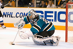 April 22, 2010; San Jose, CA, USA; San Jose Sharks goaltender Evgeni Nabokov (20) makes a save during the third period of game five in the first round of the 2010 Stanley Cup Playoffs against the Colorado Avalanche at HP Pavilion.  San Jose defeated Colorado 5-0. Mandatory Credit: Jason O. Watson / US PRESSWIRE