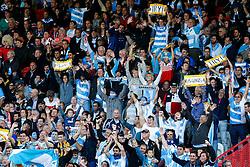 Argentina supporters celebrate - Mandatory byline: Rogan Thomson/JMP - 07966 386802 - 25/09/2015 - RUGBY UNION - Kingsholm Stadium - Gloucester, England - Argentina v Georgia - Rugby World Cup 2015 Pool C.