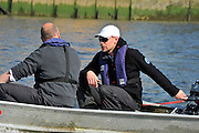 London, UK,  2014 Varsity, Annual Tideway Week. CUBC, Cambridge University Boat Club, Chief Coach, Steve TRAPMORE (right), with Roger STEPHENS, Chairman (left), in coaching launch. 09:25:29  Tuesday  01/04/2014  : [Mandatory Credit Intersport Images]