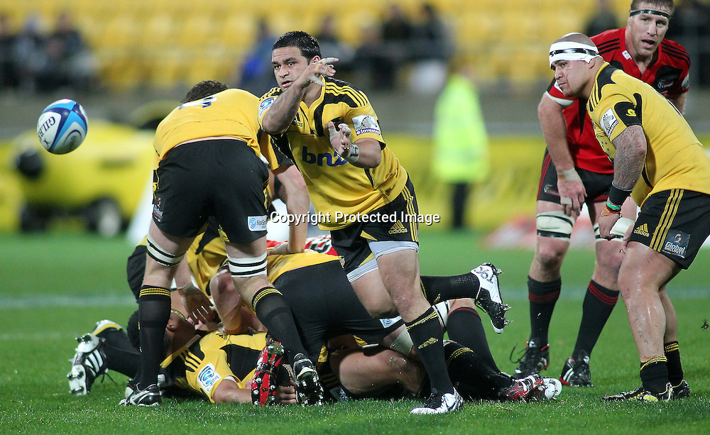 Piri Weepu clears from a ruck. Super Rugby - Crusaders v Hurricanes at Westpac Stadium, Wellington, New Zealand on Saturday 18th June 2011. PHOTO: Grant Down / photosport.co.nz