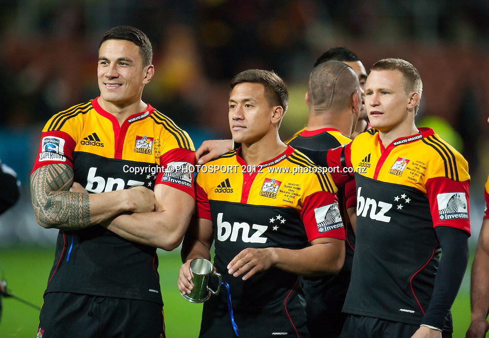Chiefs' Sonny Bill Williams, Tim Nanai-Williams and Sam Cane after the Investec Super Rugby final between Chiefs and Sharks won by Chiefs 37-6 at Waikato Stadium, Hamilton, New Zealand, Saturday 4 August 2012. Photo: Stephen Barker/Photosport.co.nz