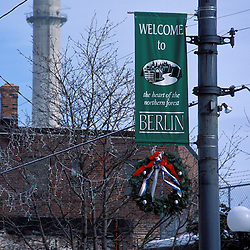 """Berlin shows its """"Northern Forest"""" pride.  The Pulp and Paper of America mill's smokestack is in the background.  Berlin, NH"""