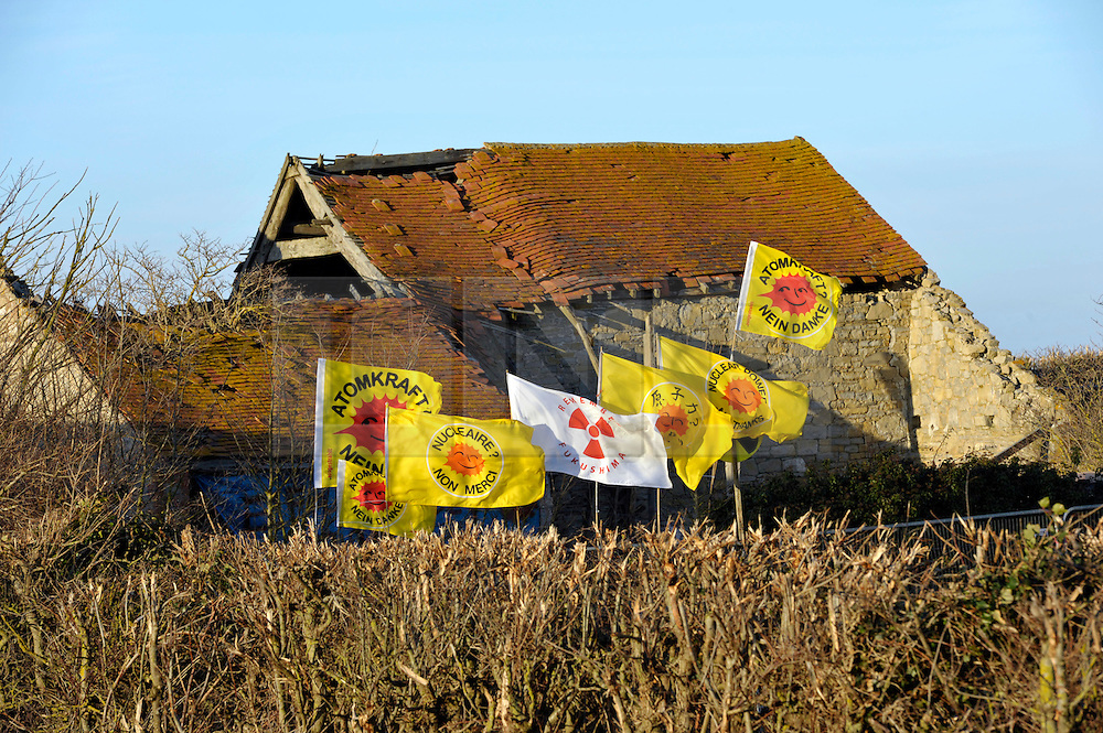 © Licensed to London News Pictures. 25/02/2012. Hinkley Point, Somerset, UK. Anti-nuclear protesters are squatting on a disused farm on land where EDF Energy plans to build a new nuclear power station.  EDF is taking a case to the high court on Monday 27 February to evict the protesters and take out an injunction against all future protests at the site..Photo credit : Simon Chapman/LNP