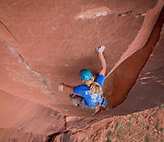 Aaron Livingston takes a fall on his project, Say Your Prayers, 5.13-. <br /> Moab, Utah