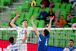 during qualifications match for FIVB Men's World Championship 2014 between National team Slovenia and Israel in pool B on May 24, 2013 in SRC Stozice, Ljubljana, Slovenia. (Photo By Urban Urbanc / Sportida)