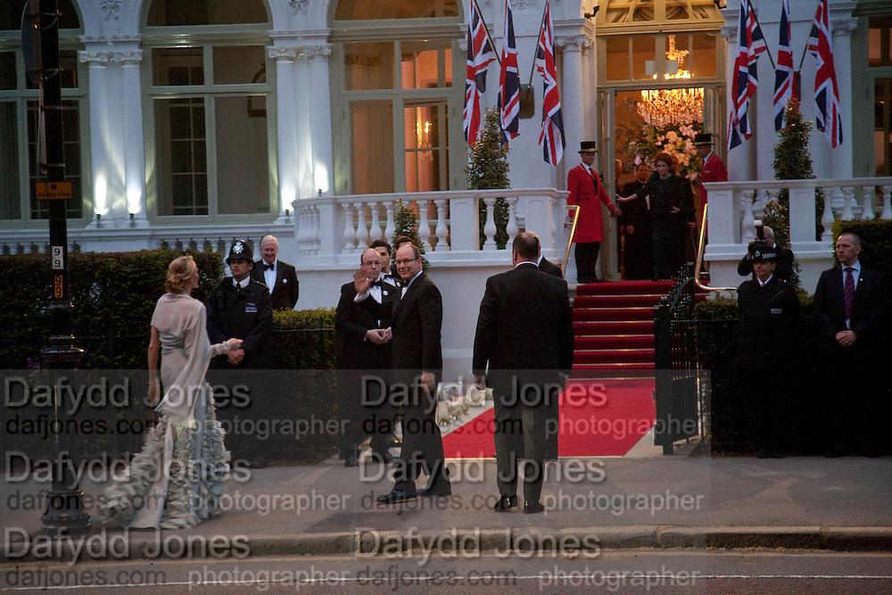 Prince Albert II of Monaco fiancee Charlene Wittstock arrives Gala pre-royal  wedding dinner held at the Mandarin Oriental Hyde Park. LONDON.  on April 28-DO NOT ARCHIVE-© Copyright Photograph by Dafydd Jones. 248 Clapham Rd. London SW9 0PZ. Tel 0207 820 0771. www.dafjones.com.