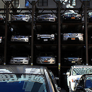 A car park near Time Square, New York. Times Square,is the major commercial intersection in Midtown Manhattan, New York City, at the junction of Broadway and Seventh Avenue and stretching from West 42nd to West 47th Streets and one of the world's busiest pedestrian intersections. Time Square, New York, USA. 5th April 2012. Photo Tim Clayton