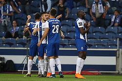 April 23, 2018 - Porto, Porto, Portugal - Porto's Malian forward Moussa Marega (R) celebrates after scoring a goal during the Premier League 2016/17 match between FC Porto and Vitoria FC, at Dragao Stadium in Porto on April 23, 2018. (Credit Image: © Dpi/NurPhoto via ZUMA Press)
