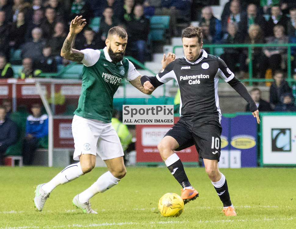 Hibernian's Liam Fontaine and Queen of the South's Ryan Conroy tussle on the edge of the box in the Hibernian vs Queen of the South Scottish Championship 19th December 2015......(c) MARK INGRAM | SportPix.org.uk