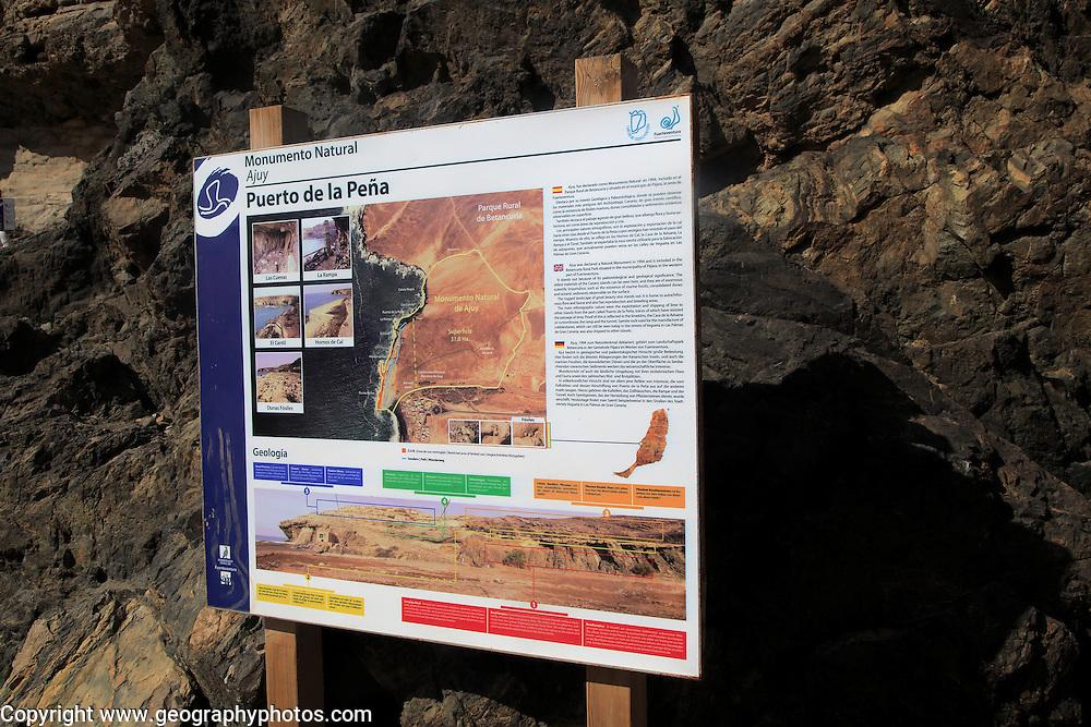 Information panel board sign, Puerto de la Pena, Ajuy, Fuerteventura, Canary Islands, Spain