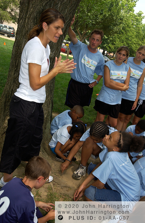 "Mia Hamm, star of Team USA's female soccer squad makes an apperance at ""Kids in Action,"" on Monday July 21, 2003."