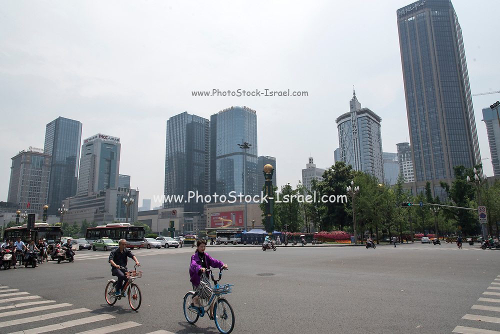 Modern high rise office buildings in the city centre of Chengdu, Sichuan, China