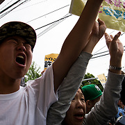 KAWASAKI, JAPAN - JUNE 05: Korean residents shout to various fascist and racist groups as they clash with police as they try to disrupt an counter-racist protest in Nakahara Peace Park, Kawasaki City, Kanagawa prefecture, Japan on June 5, 2016. A district court in Kanagawa Prefecture has issued a first-ever provisional injunction preventing an anti-Korean activist from holding a rally near the premises of a group that supports ethnic Korean people.<br /> <br /> Photo: Richard Atrero de Guzman