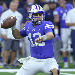 Sep 2, 2017; New Orleans, LA, USA; Brigham Young Cougars quarterback Tanner Mangum (12) throws against the LSU Tigers during the first quarter of the AdvoCare Texas Kickoff game at the Mercedes-Benz Superdome. Mandatory Credit: Derick E. Hingle-USA TODAY Sports