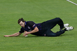 James Fuller of Gloucestershire stops the ball - Photo mandatory by-line: Dougie Allward/JMP - Mobile: 07966 386802 - 15/05/2015 - SPORT - Cricket - Bristol - Bristol County Ground - Gloucestershire County Cricket v Middlesex County Cricket - NatWest T20 Blast