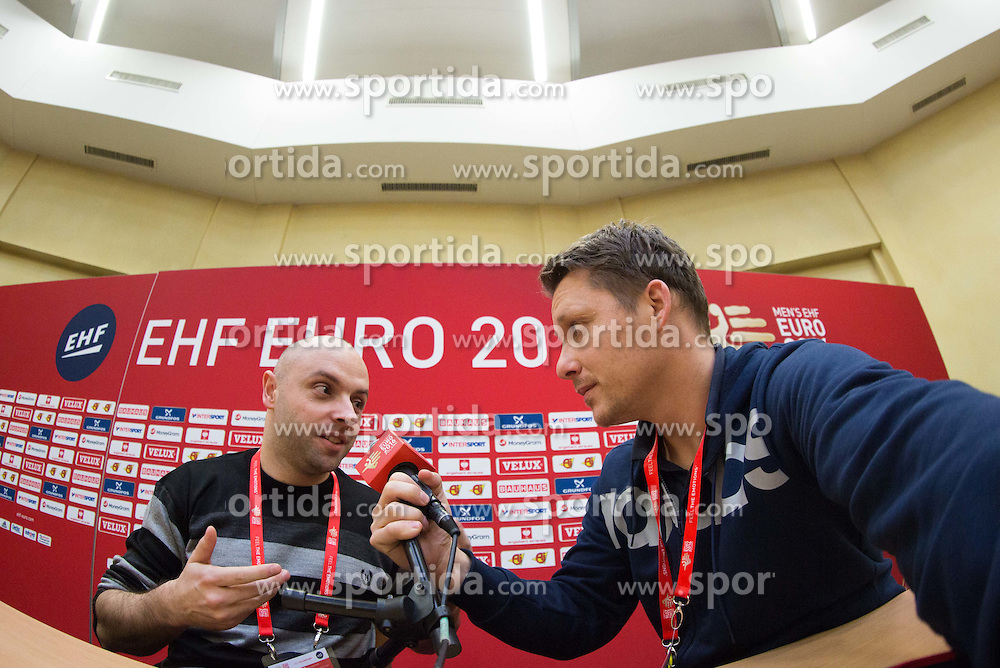 Journalist Lojze Grcman and photographer Vid Ponikvar on Day 1 of Men's EHF EURO 2016, on January 15, 2016 in Centennial Hall, Wroclaw, Poland. Photo by Vid Ponikvar / Sportida