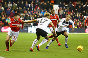 Nottingham Forest forward Joe Lolley (23) takes on the Bristol City defence during the EFL Sky Bet Championship match between Nottingham Forest and Bristol City at the City Ground, Nottingham, England on 19 January 2019.
