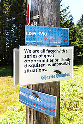 Great Cranberry Island Ultra 50K road race: name plates and inspirational sign posted on course