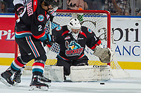 KELOWNA, CANADA - OCTOBER 20: James Porter #1 of the Kelowna Rockets makes a save against the Portland Winterhawks on October 20, 2017 at Prospera Place in Kelowna, British Columbia, Canada.  (Photo by Marissa Baecker/Shoot the Breeze)  *** Local Caption ***