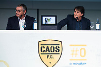 "Tv Hosts Michael Robinson and Raul Garcia during the presentation of the new tv program #0 of Movistar+ ""Caos FC"" at Ciudad del Futbol of Las Rozas in Madrid. November 21, Spain. 2016. (ALTERPHOTOS/BorjaB.Hojas)"