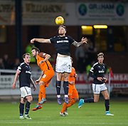 August 9th 2017, Dens Park, Dundee, Scotland; Scottish League Cup Second Round; Dundee versus Dundee United; Dundee's Kerr Waddell heads clear