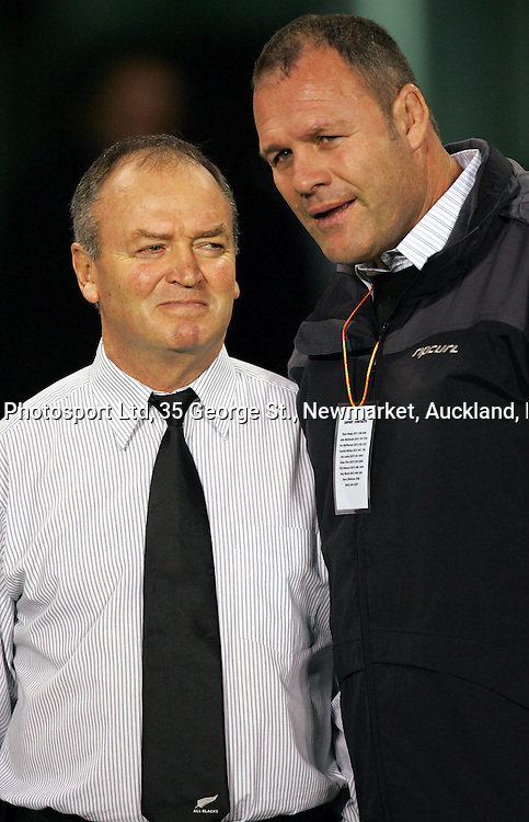 All Black coach Graham Henry speaks to Alan Whetton after the All Blacks Test match against England at Eden Park, Auckland, New Zealand, on Saturday 19 June, 2004. The All Blacks defeated England,36 -12.<br /> Photo: Andrew Cornaga/Photosport.co,nz