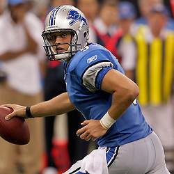 2009 September 13: Detroit Lions rookie quarterback Matthew Stafford (9) scrambles out the pocket during a 45-27 win by the New Orleans Saints over the Detroit Lions at the Louisiana Superdome in New Orleans, Louisiana.