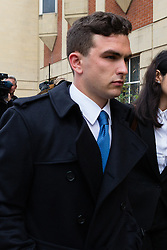 © Licensed to London News Pictures. 15/07/2014. London, UK. Joshua Parsons arrives at Thames Magistrates Court in London over alleged racist behaviour on a Paris Metro train in February. He is one of five Chelsea fans facing a Football Banning Order because of alleged racist behaviour on the Paris Metro train. Photo credit : Vickie Flores/LNP